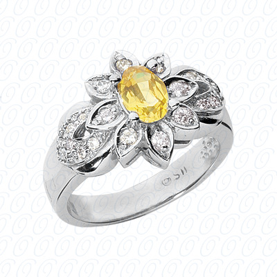 14KW Oval Cut Diamond Unique Engagement Ring 0.31 CT. Color Stone Rings Style