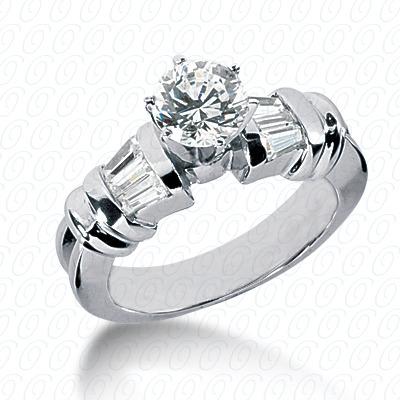 14KW Baguette Bar Cut Diamond Unique Engagement Ring 0.36 CT. Bq Side Stones  Style