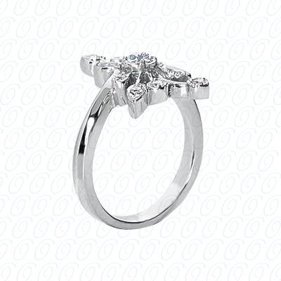 14KW Right Hand Rings Cut Diamond Unique Engagement Ring 0.39 CT. Fancy Rings Style
