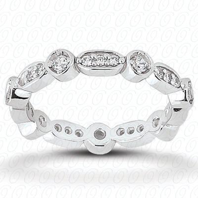 14KW  Round Cut Diamond Unique Engagement Ring 0.42 CT. Eternity Wedding Bands Style