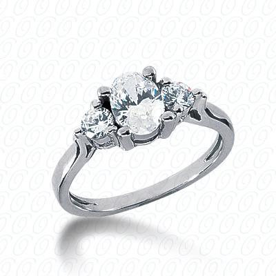 14KW Combination Cut Diamond Unique Engagement Ring 0.30 CT. Three Stones Style