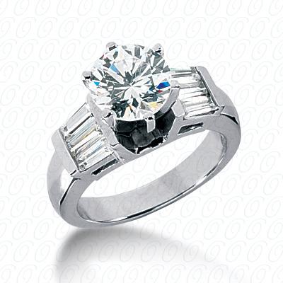 14KW Baguette Bar Cut Diamond Unique Engagement Ring 0.84 CT. Bq Side Stones  Style