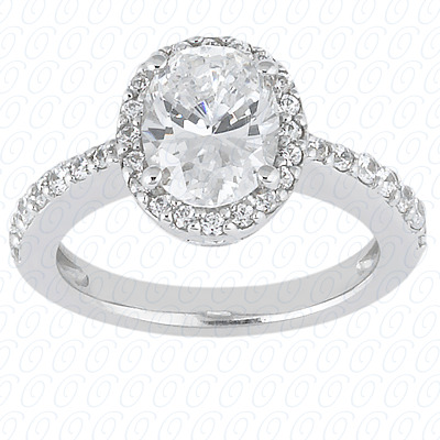 14K White Gold   Oval Cut Diamond Unique Engagement Ring 0.47 CT.