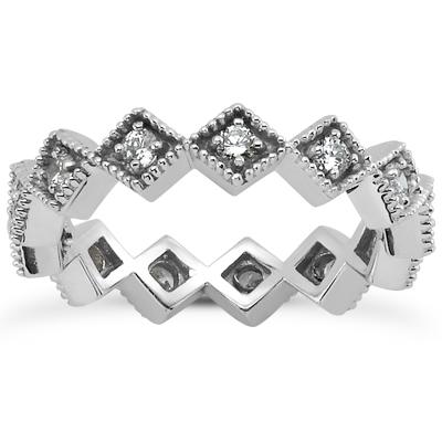 14KW  Round Cut Diamond Unique Engagement Ring 0.33 CT. Eternity Wedding Bands Style
