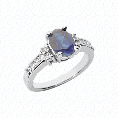 14KW Oval Cut Diamond Unique Engagement Ring 0.20 CT. Color Stone Rings Style