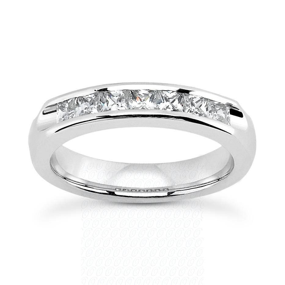 14KW Bar Set Cut Diamond Unique Engagement Ring 0.70 CT. Princess Style
