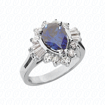 Pear Cut Diamond Unique Engagement Ring 0.86 CT. Color Stone Rings Style