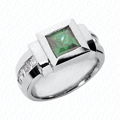 14KW Princess Cut Diamond Unique Engagement Ring 1.12 CT. Color Stone Rings Style