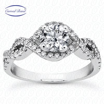 14KW Halo Petite  Cut Diamond Unique Engagement Ring 0.39 CT. Petite Style