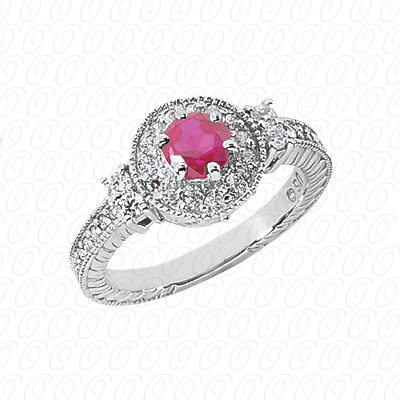14KW Round Cut Diamond Unique Engagement Ring 0.87 CT. Color Stone Rings Style