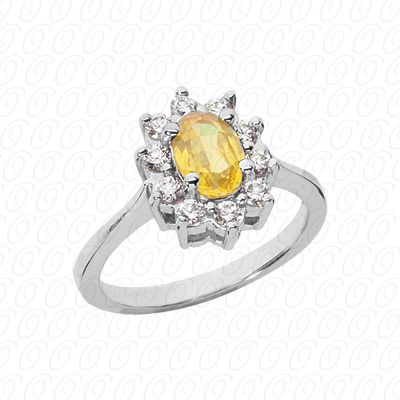 14KW Oval Cut Diamond Unique Engagement Ring 0.40 CT. Color Stone Rings Style