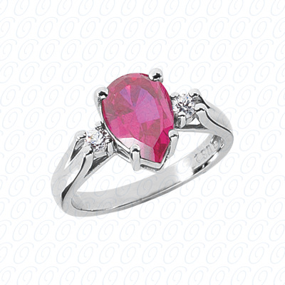 Pear Cut Diamond Unique Engagement Ring 0.14 CT. Color Stone Rings Style