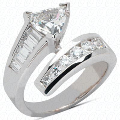 14KW Trillion Cut Diamond Unique Engagement Ring 0.88 CT. Color Stone Rings Style