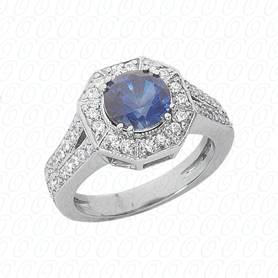 14KW Round Cut Diamond Unique Engagement Ring 1.54 CT. Color Stone Rings Style