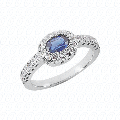 14KW Oval Cut Diamond Unique Engagement Ring 0.23 CT. Color Stone Rings Style