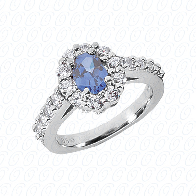 14KW Round Cut Diamond Unique Engagement Ring 0.90 CT. Color Stone Rings Style