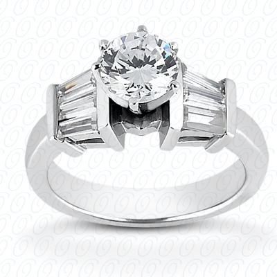 14KW Baguette Bar Cut Diamond Unique Engagement Ring 0.42 CT. Bq Side Stones  Style