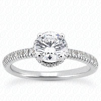 14KW Halo Petite  Cut Diamond Unique Engagement Ring 0.16 CT. Petite Style