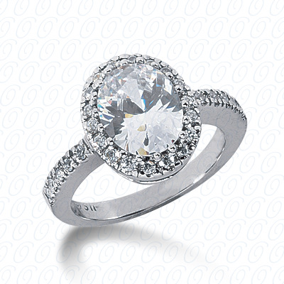 14KW Oval Cut Diamond Unique Engagement Ring 0.42 CT. Halo Style