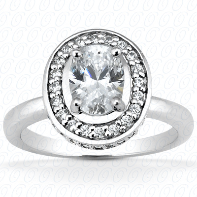 14KW Oval Cut Diamond Unique Engagement Ring 0.37 CT. Halo Style