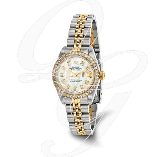 Certified Pre-owned Rolex Steel/18ky Ladies Diamond MOP Watch