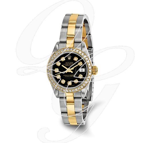 Certified Pre-owned Rolex Steel/18ky Ladies Diamond Black Watch