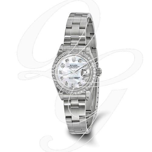 Certified Pre-owned Rolex Steel/18kw Bezel, Ladies Diamond MOP Watch