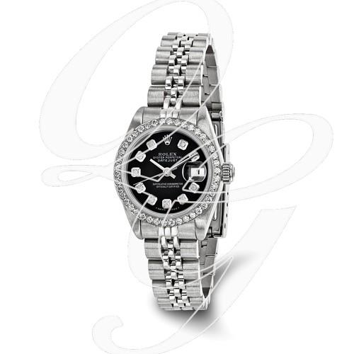 Certified Pre-owned Rolex Steel/18kw Bezel, Ladies Diamond Black Watch