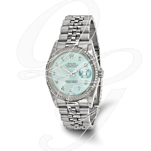 Certified Pre-ownd Rolex Steel/18kw Bezel, Men Diamond Ice Blue Watch