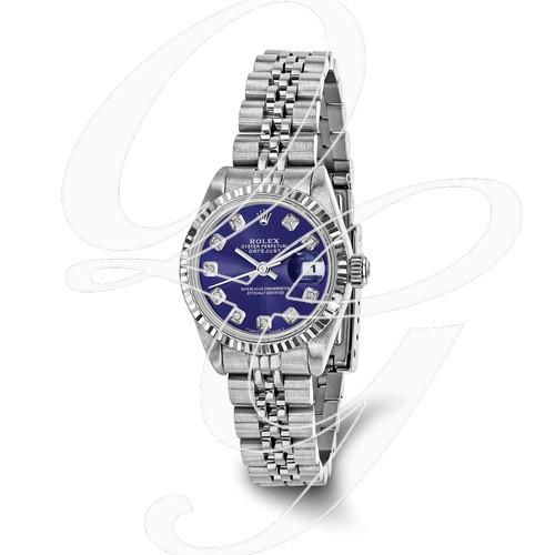 Certified Pre-owned Rolex Steel/18kw Bezel, Ladies Diamond Blue Watch