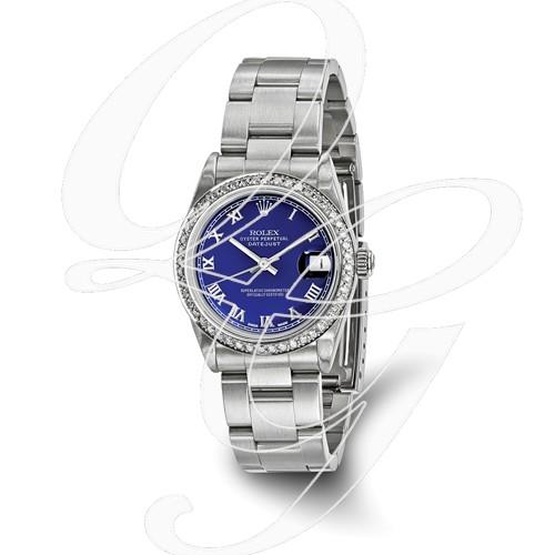 Certified Pre-owned Rolex Steel/18kw Bezel, Midsize Diamond Blue Watch