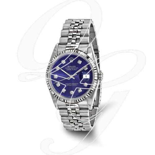 Certified Pre-owned Rolex Steel/18kw Bezel, Mens Diamond Blue Watch