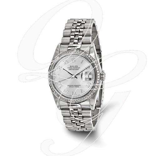 Certified Pre-owned Rolex Steel/18kw Bezel, Mens Diamond Silver Watch