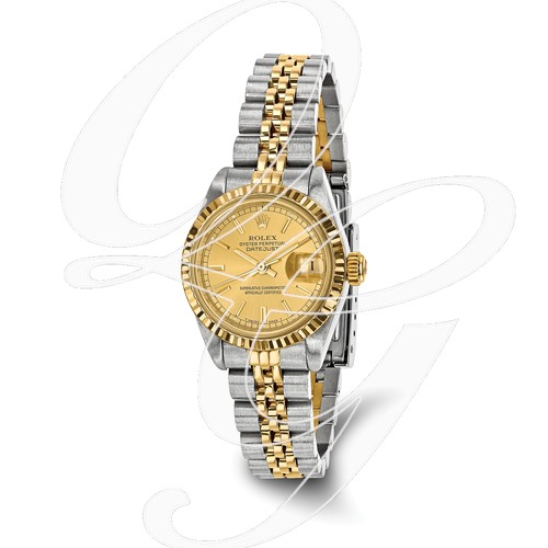 Certified Pre-owned Rolex Steel/18ky Ladies Champagne Dial Watch