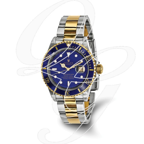 Certified Pre-owned Rolex Steel/18ky Mens Submariner Blue Dial Watch