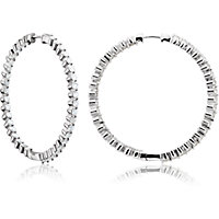 Prong Set Inside/Outside Hinged Diamond Hoop Earrings