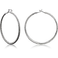 Pave Set Inside/Outside Diamond Hoop Earrings