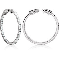 Prong Set Inside/Outside Diamond Hoop Earrings with Vault Lock