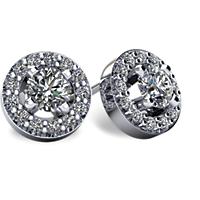 Halo-Style Diamond Stud Earrings with Friction Backs